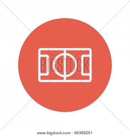 Basketball court thin line icon for web and mobile minimalistic flat design. Vector white icon inside the red circle