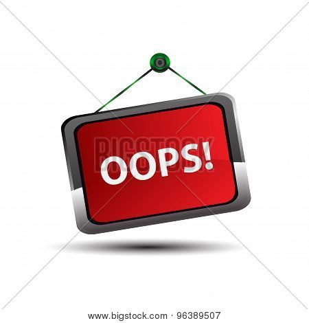 Oops sign. Vector oops sign isolated  red  eps10