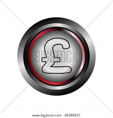 Pound circle web glossy icon button vector