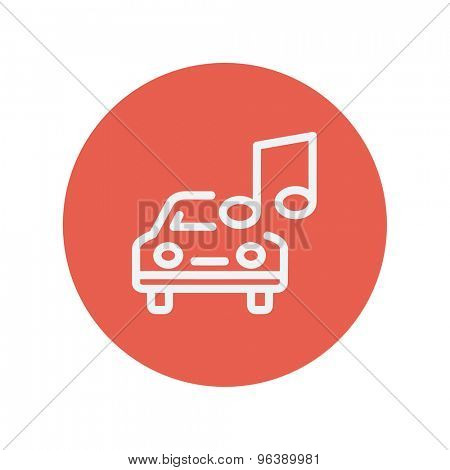 Car with music thin line icon for web and mobile minimalistic flat design. Vector white icon inside the red circle
