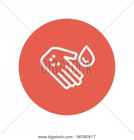 Wash the wound with water thin line icon Medical symbol thin line icon for web and mobile minimalistic flat design. Vector white icon inside the red circle.