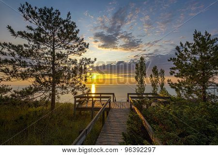 Lake Huron Boardwalk At Sunset