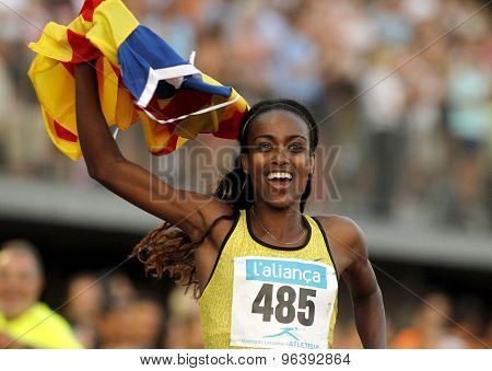 BARCELONA - JULY, 8: Ethiopian athlete Genzebe Dibaba celebrating victory in 1500 meters of the Athletics International Meeting at the Serrahima Stadium on July 8 2015 in Barcelona, Spain