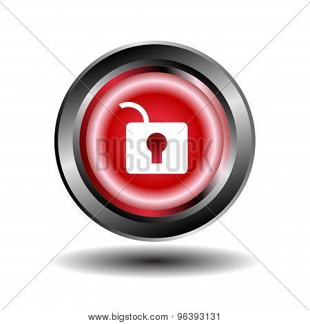 Unlock Circular Red Vector Web Button Icon poster