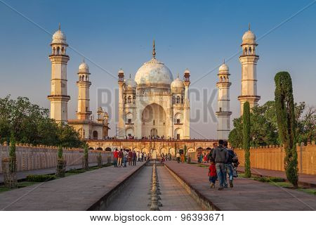 AURANGABAD, INDIA- 15 JANUARY 2015: Bibi Ka Maqbara also known as mini Taj Mahal bears striking resemblance to the more famous mausoleum.