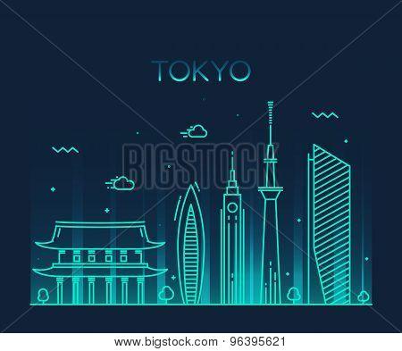 Tokyo City Trendy vector illustration line art