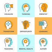Line icons set with flat design elements of human mind process people brain thinking mental health and autism problem opportunities and mental transform. Modern vector pictogram collection concept. poster