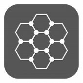 The molecule icon. Atom and chemistry, dna, physics symbol. Flat Vector illustration. Button poster