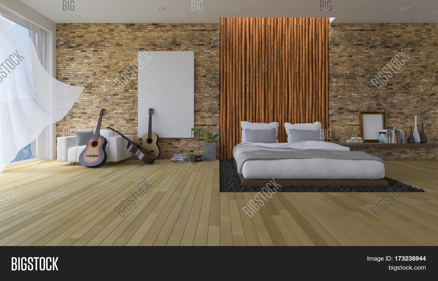 3ds Bed Bamboo Wall Image Photo Free Trial Bigstock