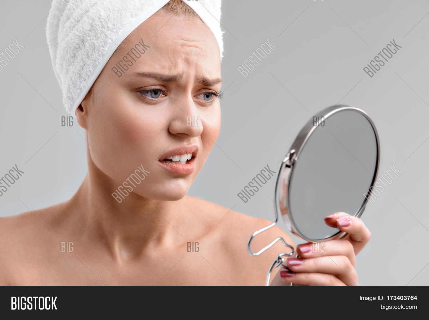 Woman Holding Mirror Throughout Upset Young Woman Is Holding Mirror And Looking At Her Face With Dissatisfaction Her Head Young Woman Image u0026 Photo free Trial Bigstock