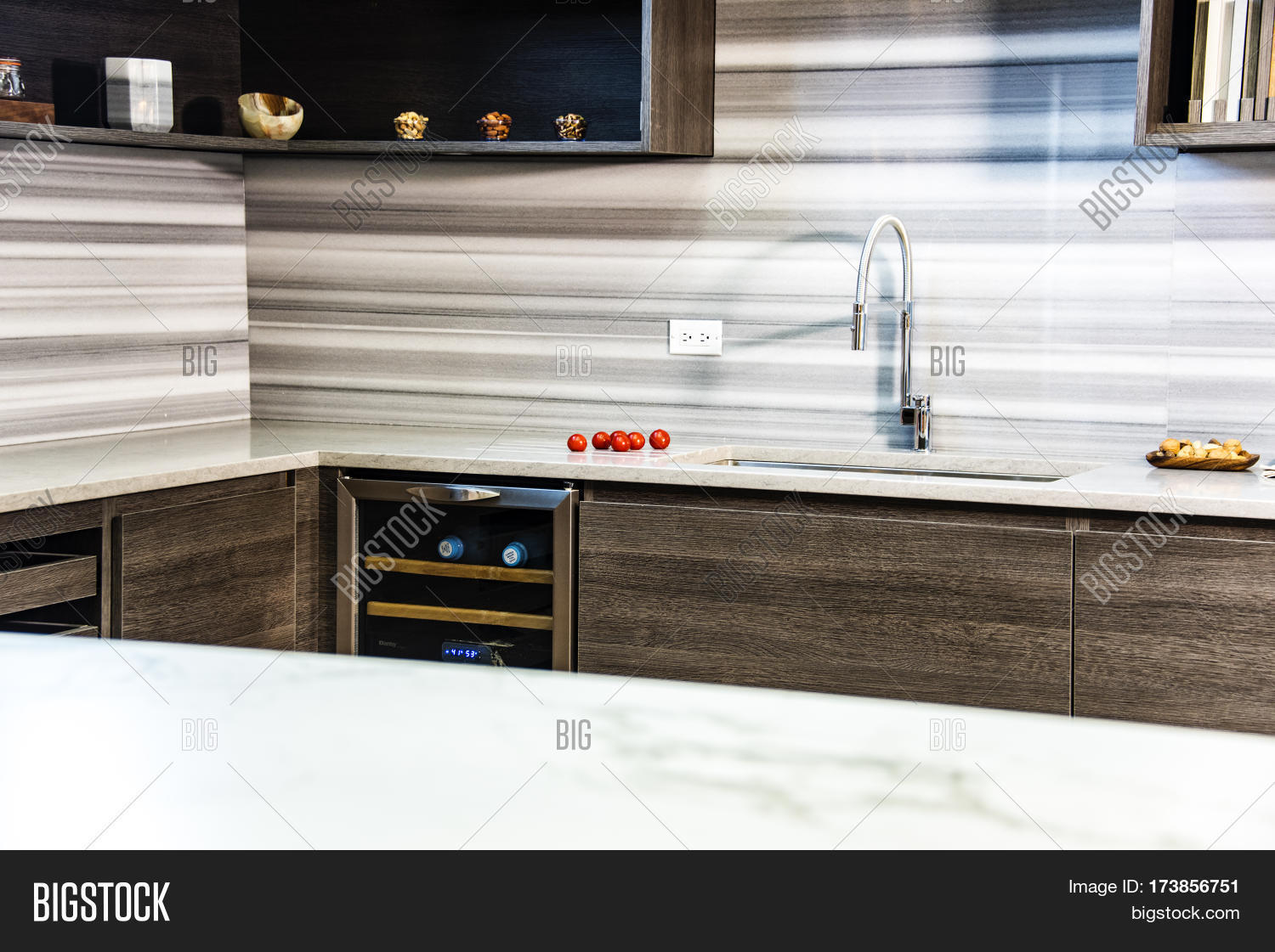Modern Luxury Kitchen Interior With Granite Counter Top. Countertop Concept.