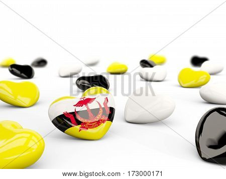 Heart With Flag Of Brunei Isolated On White