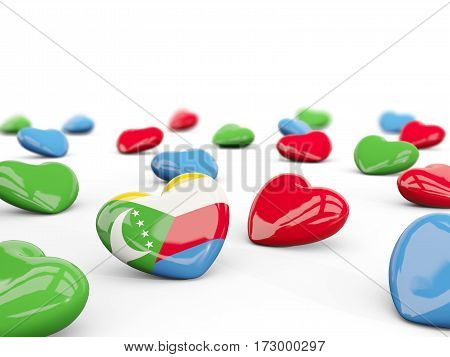 Heart With Flag Of Comoros Isolated On White