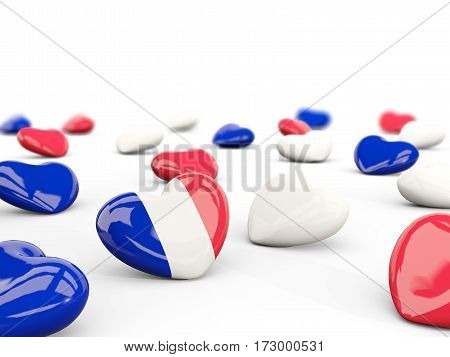 Heart With Flag Of France Isolated On White