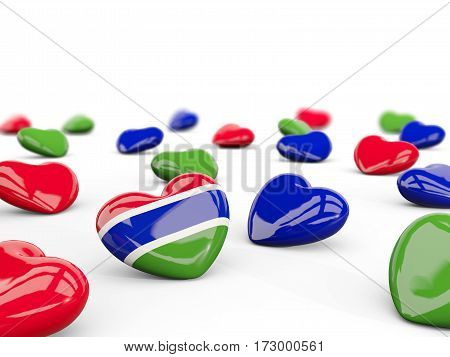 Heart With Flag Of Gambia Isolated On White