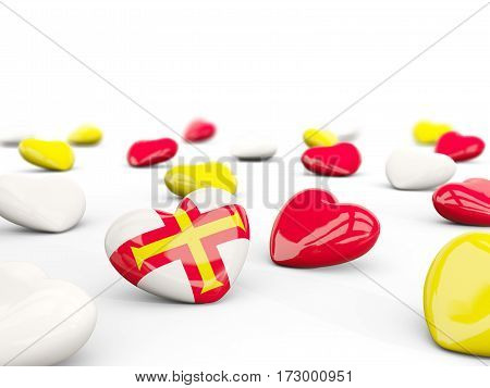 Heart With Flag Of Guernsey Isolated On White