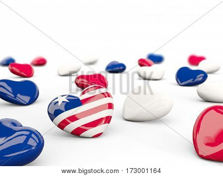 Heart With Flag Of Liberia Isolated On White