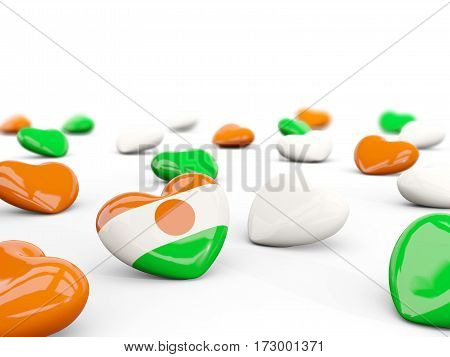 Heart With Flag Of Niger Isolated On White