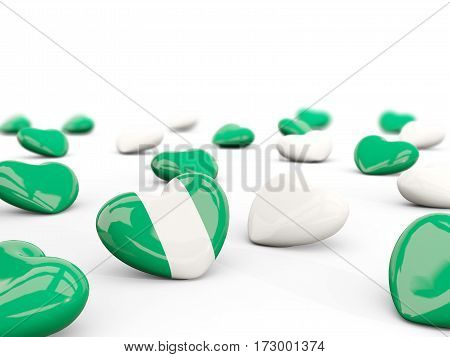 Heart With Flag Of Nigeria Isolated On White