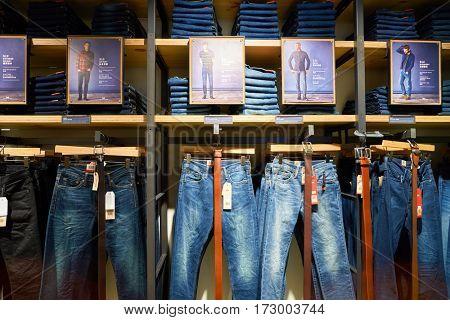 HONG KONG - CIRCA NOVEMBER, 2016: levi's store in Hong Kong. Shopping is a widely popular social activity in Hong Kong.