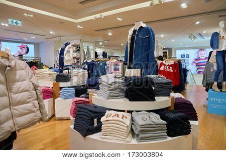 HONG KONG - CIRCA NOVEMBER, 2016: inside a GAP store in Hong Kong. Shopping is a widely popular social activity in Hong Kong.