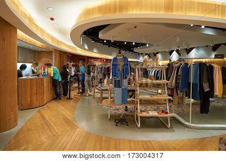 HONG KONG - CIRCA NOVEMBER, 2016: inside a store in Hong Kong. Shopping is a widely popular social activity in Hong Kong.