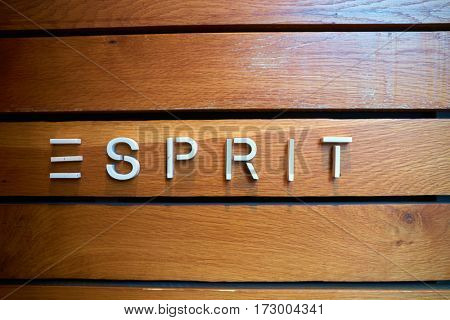 HONG KONG - CIRCA NOVEMBER, 2016: close up shot of Esprit sign.