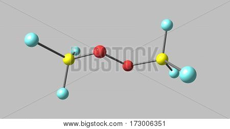 Bistrifluoromethylperoxide or BTP is a fluorocarbon derivative. It has recently been discovered that it is a good initiator for the polymerization of unsaturated ethylene-like molecules. It produces good quality polymers. 3d illustration