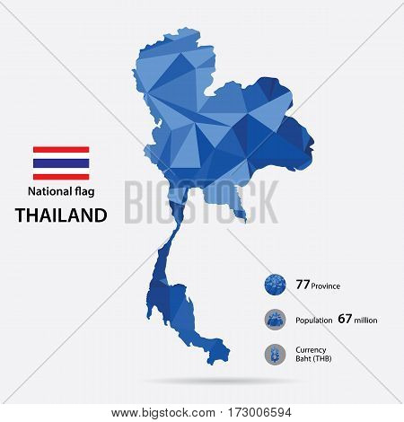 Thailand on the world map with a blue abstract pattern on grey background.