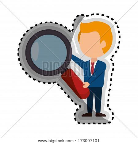 businessman character avatar with magnifying glass vector illustration design