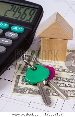 House Of Wooden Blocks And Currencies Dollar With Calculator On Construction Drawing, Building House