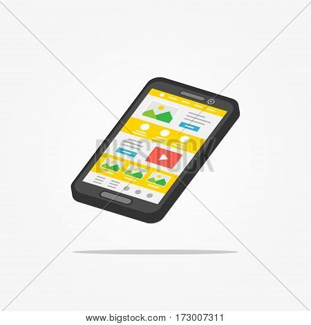 Landing page phone 3D vector illustration. Responsive adaptive web design technology 3D creative concept. Friendly user interface landing page isometric graphic design.