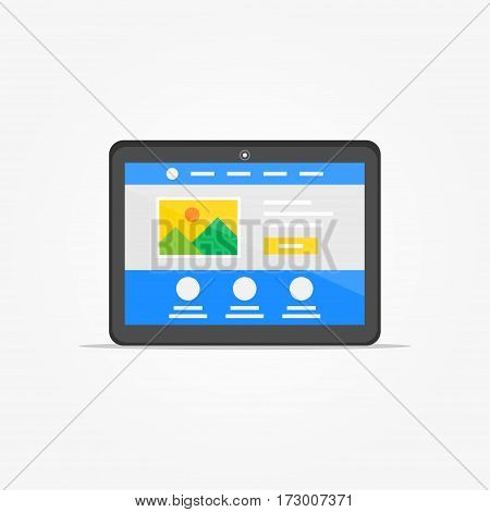 Landing page tablet vector illustration. Responsive adaptive web design technology creative concept. Friendly user interface landing page graphic design.