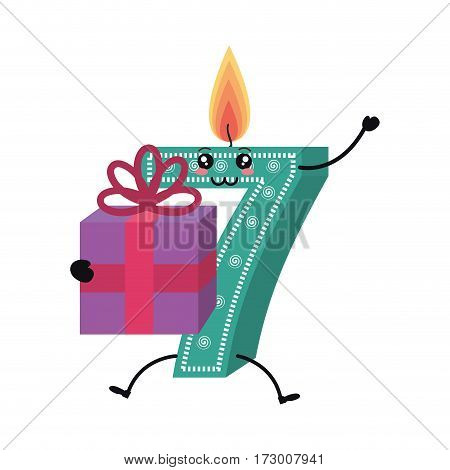 candle birthday number character vector illustration design