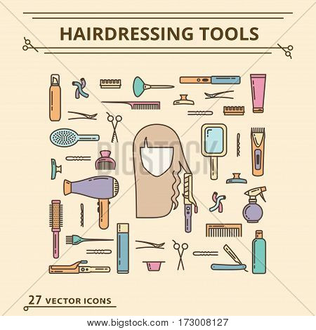 Hairdressing tools. Icons Set. Isolated object EPS 10