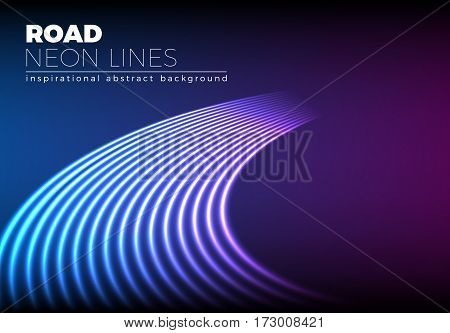 Neon lines background with 80s style road turn