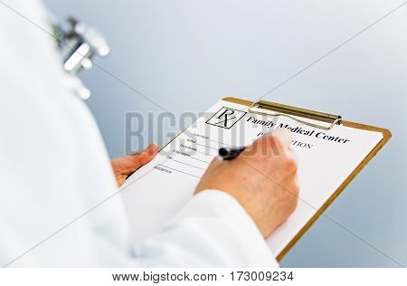 female doctor writing prescription to patient, drug prescription for treatment medication,