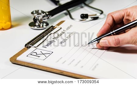 Doctor writing prescription to patient healthcare concept, drug prescription for treatment medication,