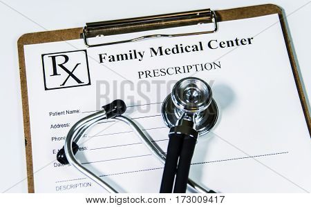 doctor concept. doctor office in hospital. Doctor's prescription with stethoscope.