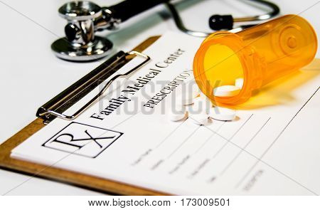 Prescription pad. Medical prescription to patient healthcare concept. Prescription at worktable. Prescription with drugs, stethoscope,  Prescription paper in flat style. Rx prescription form