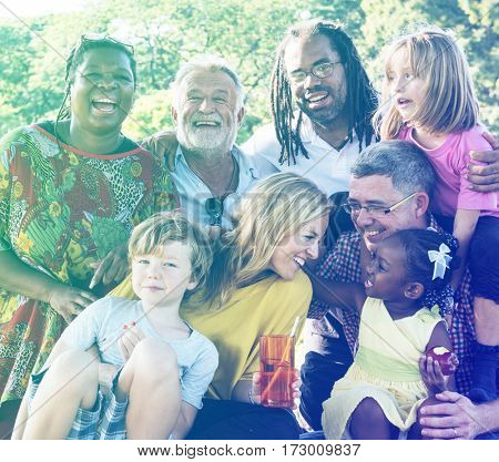 Diverse Family Picnic Outdoors Togetherness Relaxation