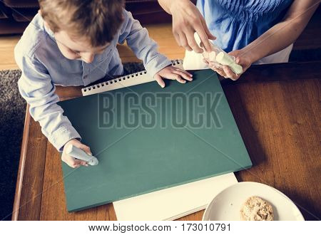 Boy Art Learning at Home with His Mom