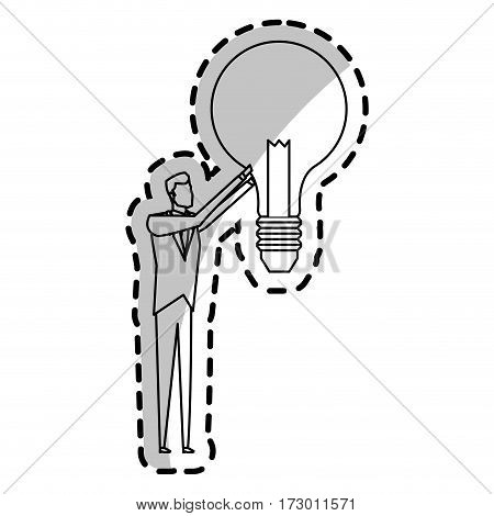 man and lightbulb idea icon image vector illustration design