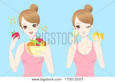 beauty casul woman eat fruit happily with blue background