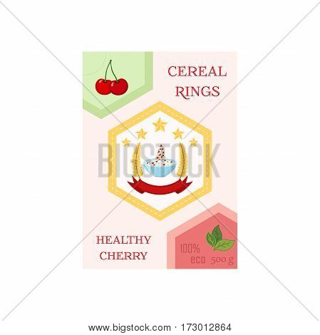 Cereal rings box, cherry with bowl. Oatmeal breakfast with milk, organic muesli. Flat vector style.