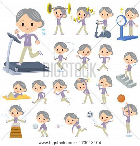 Set of various poses of Purple wear grandmother Sports & exercise