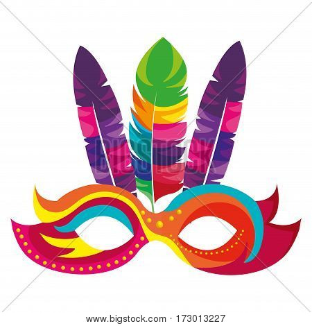 colorful festival mask with feathers vector illustration