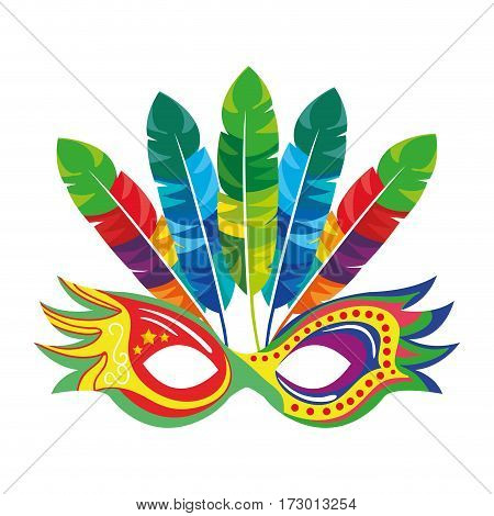 colorful party mask with feathers vector illustration