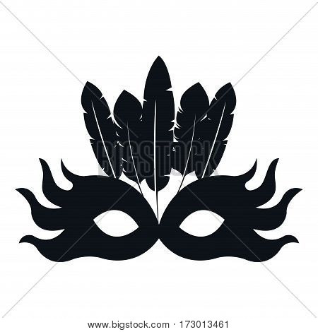 black silhouette mask feather carnival festival circus fair celebration vector illustration