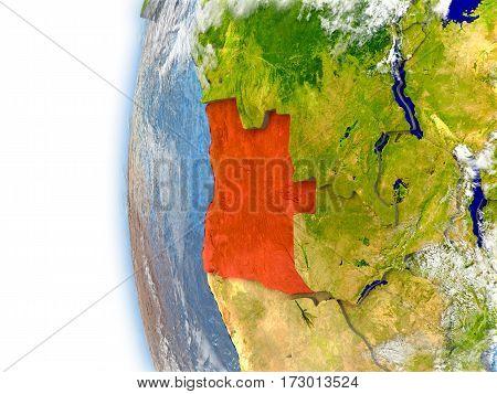 Angola On Model Of Earth